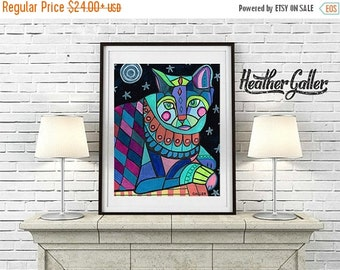 50% Off Today- Modern Abstract Cat Art Poster Print of painting by Heather Galler (HG683)
