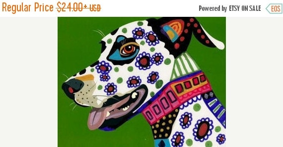 50% Off Today- Dalmatian art dog Poster Print of painting by Heather Galler Dalmations - Heather Galler (HG352)
