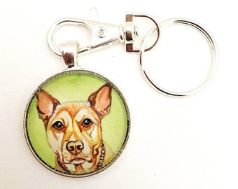 Pet Memorial Keychain- Dog Keychain- Dog Memorial Keychain- Pet Lover Gifts- Dog Painting- Pet Loss Gifts- Dog Memorial Gift- Pet Gifts