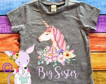 Big Sister Unicorn Shirt Floral Unicorn Big Sister Tshirt Pregnancy announcement kids shirt big sister shirt girls sister to be shirt