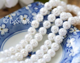 Vintage Pearl Beads Dimpled White Lightweight Lucite Pearl Beads From Japan 8mm