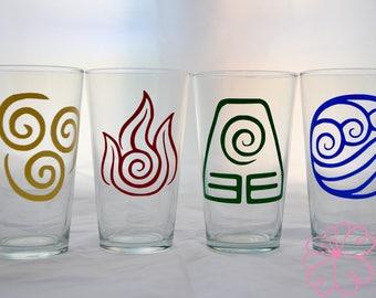 Set of 4 Avatar: The Last Airbender Vinyl Design Drinking Glasses