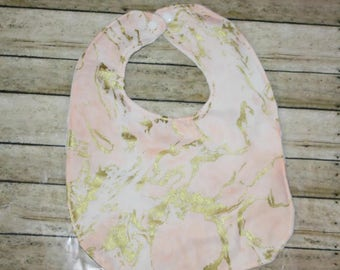 Baby Bib- Gold and Blush Bib with Minky Backing, Baby Girl Bib, Baby Boy Bib, Minky Baby Bib, Gold Baby Bib