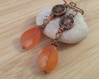 Oxidized Copper and Carnelian Briolette Earrings. Rustic Long Earrings. Orange Gemstone Earrings. Wire Wrapped. Antique Copper Medallions.