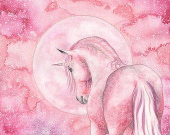 Mérlian, the prince of the moonicorns. Original watercolor painting, unicorn art, moon, stars, milky way, illustration, fantasy