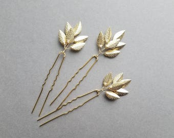 Gold Leaf Hair Pins, Gold Vine Hairpieces, Leaf Hair Comb, Wedding Hair Pieces, Leaf Hairpieces, Gold Hairpins, Leaf Headpieces, Bridesmaid