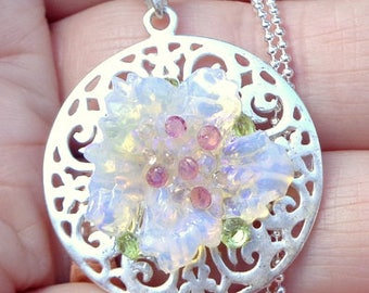 Carved Ethiopian Welo Opal,Sterling Silver Necklace,Pink Sapphires, Peridot Crystals, Lavender Color Play, Natural Gemstones