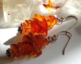 Natural Baltic Amber fine silver Modern Tribal drop earrings