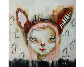 Original fox girl painting mixed media art painting on wood canvas 6x6 inches - The dreamer