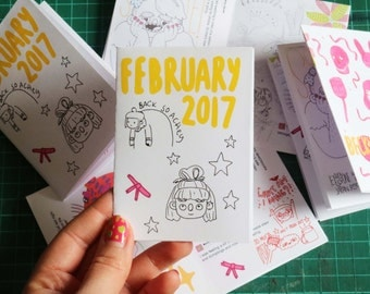 February 2017 Art Zine Sketchbook