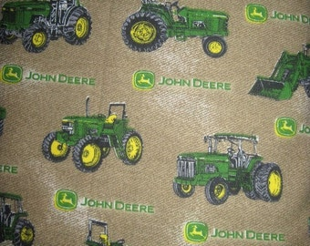 18X22 JOHN DEERE Cotton Fabric Fat Quarter Brown With Tractors