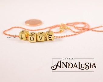 LOVE necklace - dingle - gold metal letters - orange chain