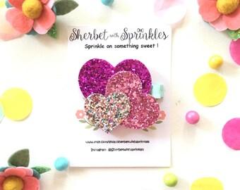 Valentine's Day Hair Clip or Headband, Pink Rainbow Heart Glitter Hair Clip, Glitter Hair Clip, Felt Hair Clip, Heart Headband, Baby Girl