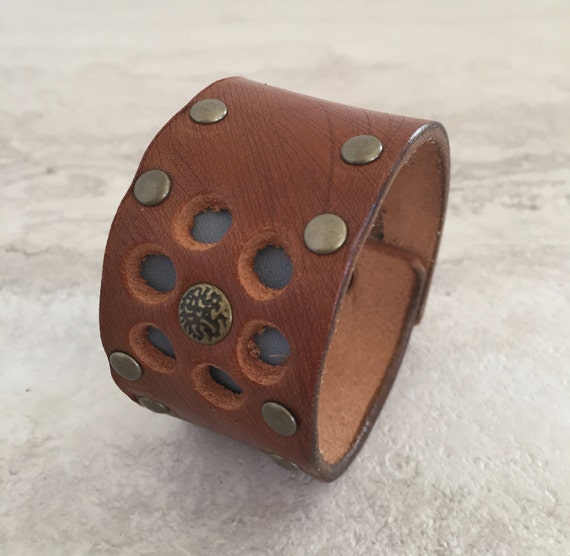 Handmade Leather Cuff Layered with Blue through Cut Out