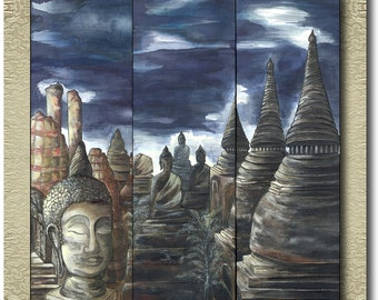 Ayutthaya - Fine Art Prints on heavy Cotton Canvas on 3 Panels - unframed