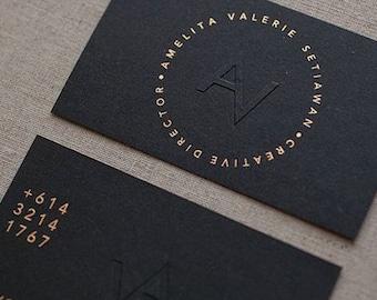 200 Business Cards - gold foil and blind embossed - 14PT black matte stock -  custom printed