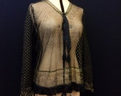 RESERVED Beautiful 1920s vintage to antique net tunic with gold star and leaf hand applied metallic flock pattern and fringed hem