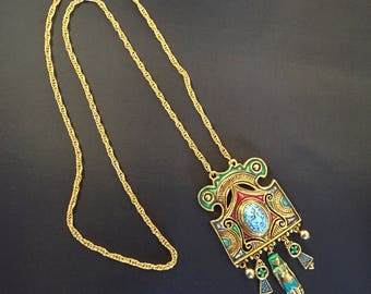 Late 1970s egyptian revival huge king tut pendant goldtone and enamel with robins egg glass cabachon