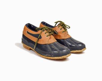 Vintage Short Duck Boots in Navy Blue & Tan / Colorado Rubber Moc Boots / Short Rain Boots Shoes - women's 8