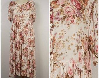Starina winter white and pink rose floral gauze dress romantic feminine 80s 90s vintage short sleeve full skirt crinkle maxi dress Medium