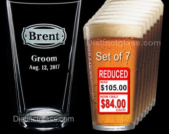 Groomsman - Best Man - Groom - Set of 7 Personalized Etched PINT BEER GLASS - Ships to Canada