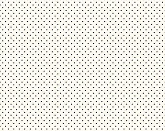 Black Polka Dot Fabric - Riley Blake Swiss Dots - Black Dot on Cream Fabric By The 1/2 Yard