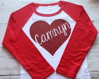 pretty red glitter heart raglan shirt, Valentine's Day shirt, Personalized Valentine shirt, Valentine's Day heart shirt