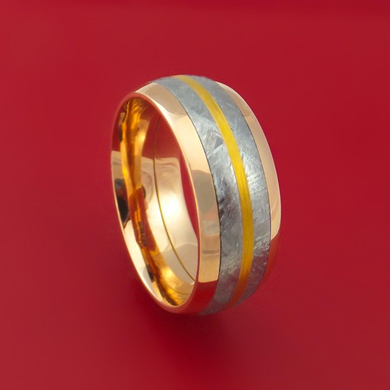 18k Rose Gold und Gibeon Meteoriten Ring mit 24k Gold Inlay