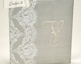Wedding Memory Book / Wedding Guest Book / Wedding Guestbook / Monogram Guest Book / Grey Silk Guestbook / Unique Guestbook - Evelyn II
