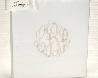 Monogram Wedding Guest Book / Memory Album / Custom Guestbook / Classic Guest Book / Ivory Silk Wedding Book / Keepsake Wedding - Kathryn