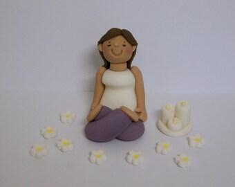 Handmade Edible Yoga Pilates Lady Fondant Cake Topper/Decoration