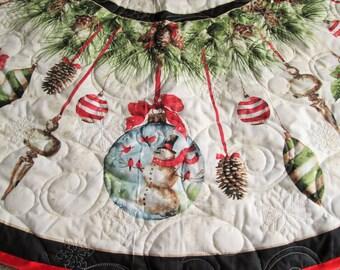 Christmas Tree Skirt, Woodland Hoilday Tree Skirt, Snowman, Cardinal, Quilted Tree Skirt, Christmas Ornaments