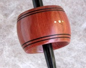"""The """"Torus""""- medium weight titanium tipped support spindle in resin stabilised Salmon Gum and Dymondwood"""