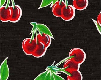 Round Oilcloth Tablecloth Cherry Black
