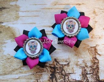 Day of the Dead Sugar Skulls....Small ribbon flower hair bo
