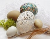 RESERVED FOR SHANNON: Full Floral Carved and Marbled Duck Egg in Mossy Nest