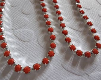 3mm Coral Red Rhinestone Chain - Silver Plated Setting - Czech Crystals