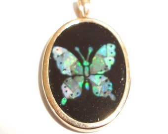 14K Gold Mosaic Black Onyx and Opal Butterfly Small Pendant