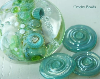 "Handmade Lampwork bead ""Spring Pond"" - Creeky Beads SRA"