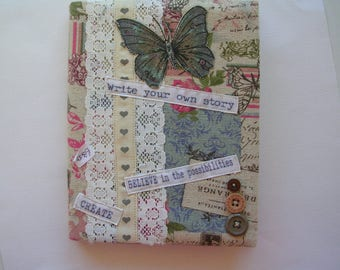 Shabby Chic vintage style linen fabric covered notebook, blank journal
