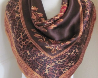 "Scarf Beautiful Brown Leopard Print So Soft Silk Scarf  // 28"" Inch 66cm Square"