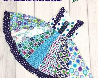 All Knit  Blue Twirl Dress