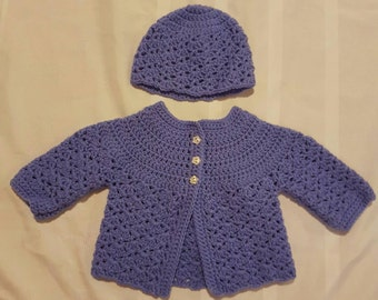 Baby Girl Vintage Inspired Crocheted Purple Sweater and Hat  Ready to Ship