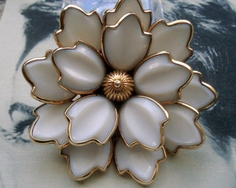 Trifari Crown signed Alfred Phillipe Dogwood Design Poured Glass Tiered Flower Brooch and Pendant Circa 1951