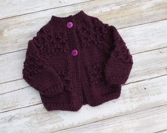 Lace Baby Girl Cardigan. Newborn Purple Cardigan.