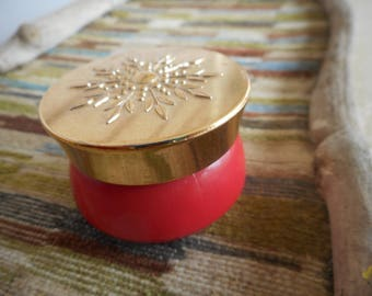 Vintage Avon Collectible  Persian Wood Cream Sachet glass Jar coral Pink
