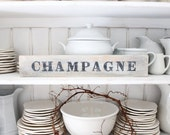 Sign, CHAMPAGNE France, Heavy Wine crate slats wood vintage salvage, Counter, tabletop, Cabinet sign French,