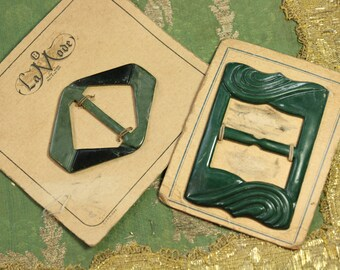 Vintage lot gorgeous 1930s green  buckles art deco early plastic dress trim belt belting sash  dress making