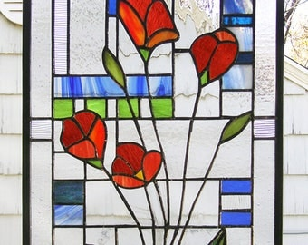 "California Red Poppies---12"" x 17.5"" -  Stained Glass Panel"