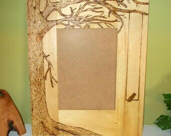 "Wood Burned Frame 11"" x 9.25"", Country, Tree and Swing, For 5""x7"" Photo, Hang or Free Standing"
